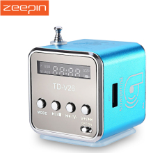 Zeepin td-v26 Mini Speaker Portable Micro SD/TF Music Player Digital LCD Sound FM Radio Stereo Loudspeaker For PC Laptop MP3