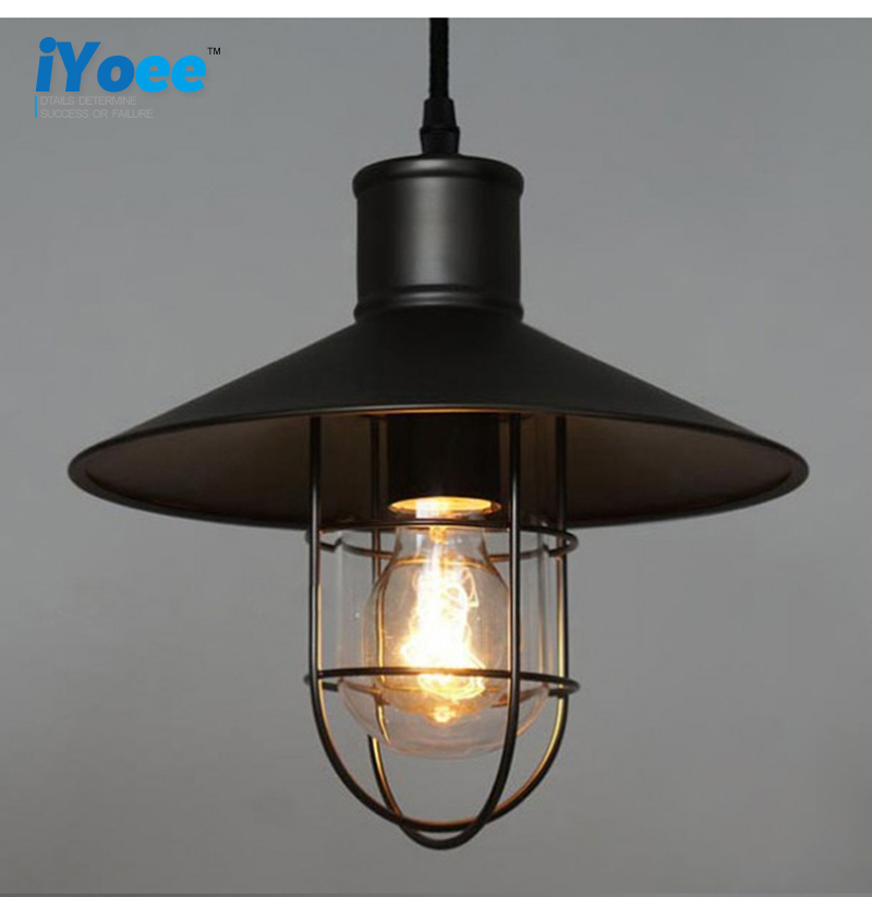 Vintage Iron Pendant Light Industrial Lamps E27 Cage Pendant Lamp Hanging Lights Fixture With Glass Guard Indoor Lighting<br>