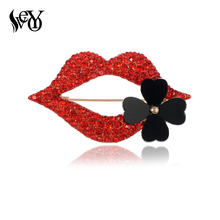 VEYO Sexy Red Lips Rhinestone Brooch Jewelry for Women Fashion Lapel Pins Four Clover Flower Brooches Wholesale(China)