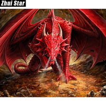 "Zhui Star Full Square Drill 5D DIY Diamond Painting ""Red dragon"" 3D Embroidery set Cross Stitch Mosaic Decor gift VIP"