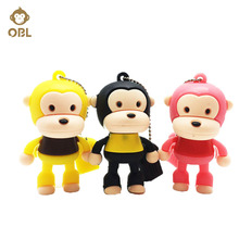 Cute Cartoon Monkey Pen Drive 4GB 8GB 16GB 32GB 64GB 128GB USB Flash Lovely Drive Pendrive for PC Flash Memory USB Key USB Stick