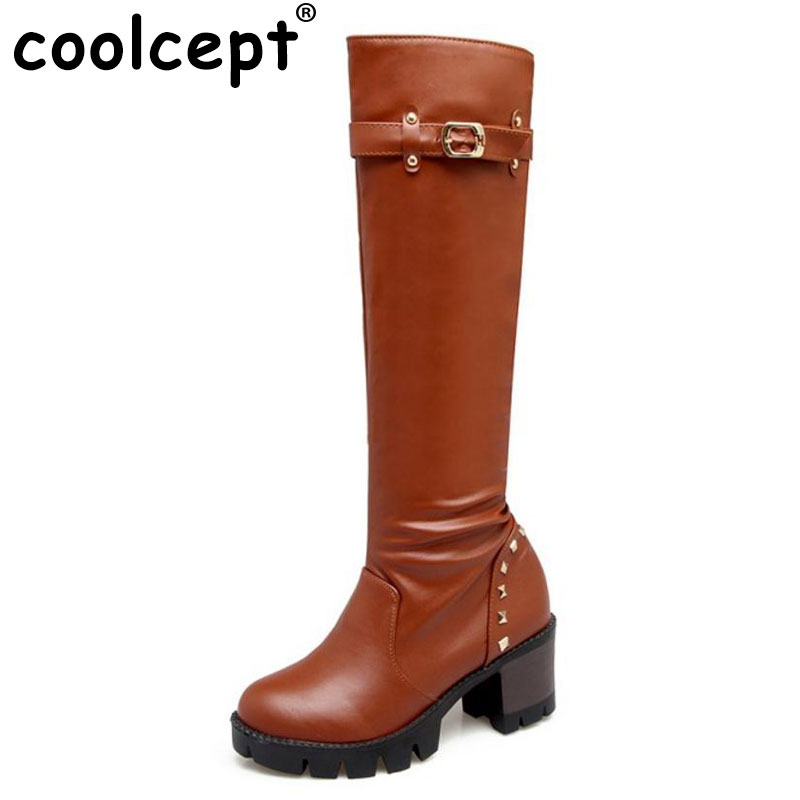 Coolcept High Heels Women Boots Knee-High Platform Fashion Buckle Decoration Thick Fur Warm Winter Footwear Rivets Size 34-43<br>