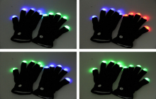 20PCS LED Gloves Rave Light Flashing Finger Lighting Glow Mittens Magic Black Gloves Party Pub Birthday Halloween Party Holiday