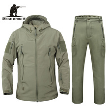 Men autumn winter jacket coat soft shell shark skin clothes, waterproof military clothing camouflage jacket and pants