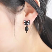 1 PCS Cute Kitten Cat Stud Earrings Cat Black white Ear Jewelry Earrings For Women Fashion Statement Jewelry  Freeshipping