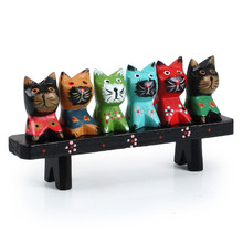 Home Office Decor Wood Cat Figurines Cute Wood Desktop Decor Crafts Home Accessories Holiday Gift Creative Doll Toy Wood Craft(China)