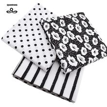 Printed Twill Cotton Fabric For Sewing Quilting Black&White Tissue Baby Bed Sheets Sleepwear Children Dress Skirt Material china(China)