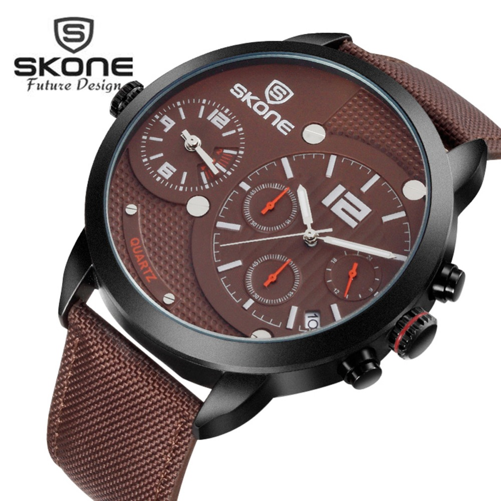 SKONE Military 3 Dial Multifunction Watch Men Famous Brand Luxury Two-movement Sport Mens Quartz Watch Relogio Masculino XFCS<br>