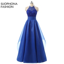 New Arrival Royal blue A-Line Halter Evening dress Vestido de festa Beaded Crystals vestido longo abiye Formal dress 2018(China)