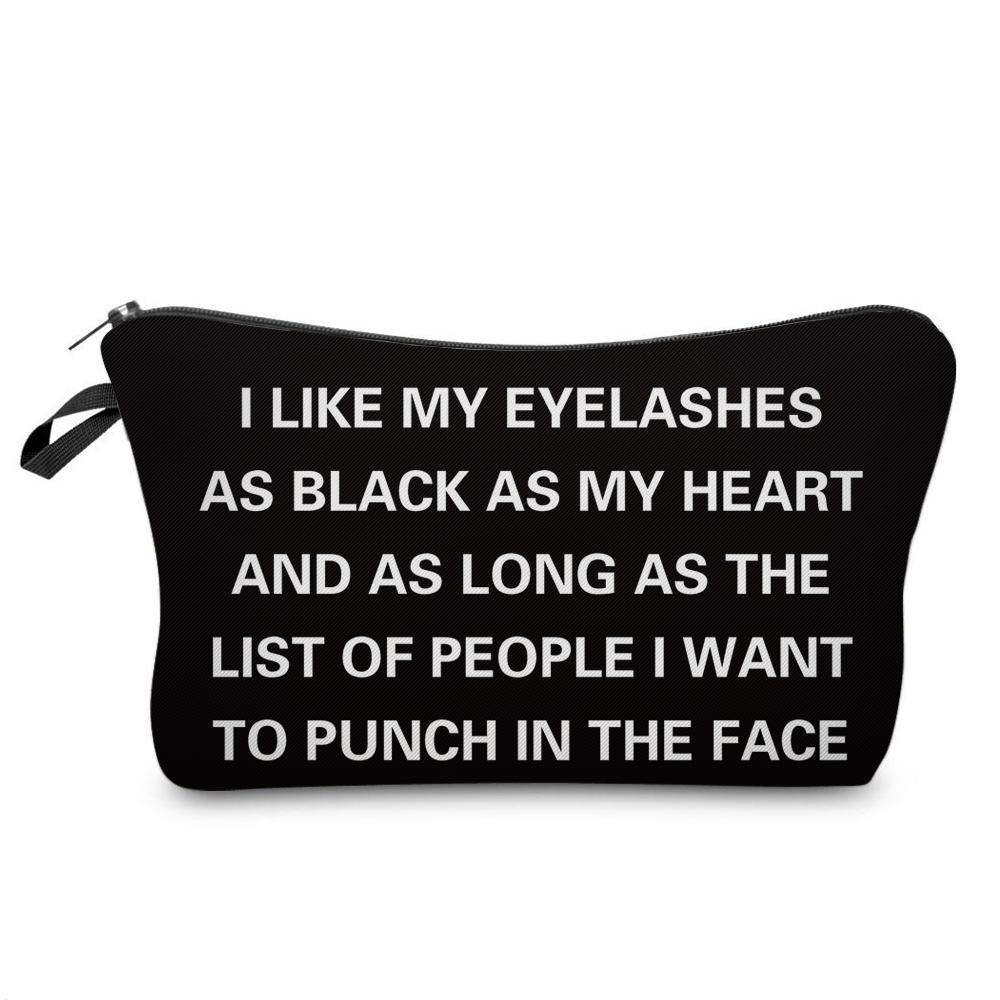 """I Like My Eyelashes"" Printed Makeup Bag Organizer 28"