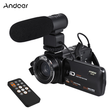 Andoer HDV-Z20 1080P Full HD WiFi Digital Video Camera with External Microphone Rotatable LCD Touchscreen 24 MP 16x Digital Zoom