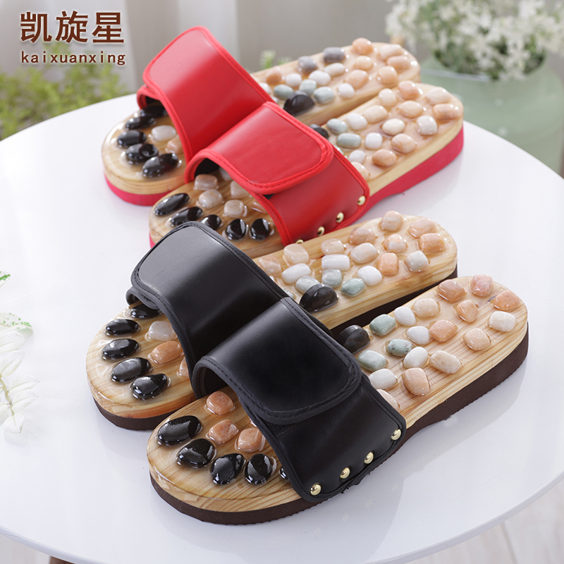 B05 Natural pebble foot foot massage slippers point massage shoes for men and women couple home skid shoe<br>