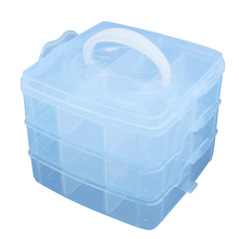 Blue Plastic Empty 3 layer Storage Case Box Nail Art Craft Makeup(China)