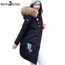 2017 Big Real Fur Winter Jacket Women Coat Warm Slim Thick Long Parkas Raccoon Fur Collar Hooded For Women Coats Female Jackets