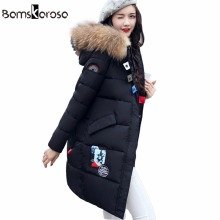 2017 Big Real Fur Winter Jacket Women Coat Warm Slim Thick Long Parkas Raccoon Fur Collar Hooded For Women Coats Female Jackets(China)