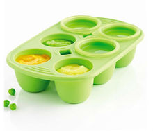 Silicone Babypod 6 Portions Food Storage Cup Cook and store baby's meal 6 airtight lid(China)