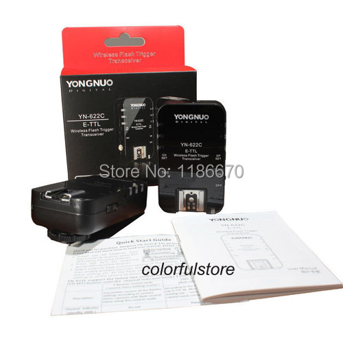 High-speed Sync 1/8000s 2.4GHz YongNuo YN-622C YN622C Wireless E-TTL Flash Trigger Transceiver for Canon Flash Speedlite Camera<br><br>Aliexpress