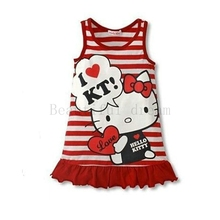 Hello Kitty Style Cartoon Pattern Summer Kids Dress Princess Girl Dress For Party Costume For Girls Dresses Children Clothing(China)