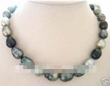 Free shipping >>@ 776 Beautiful Baroque black grey pearl necklace 18''