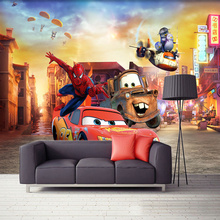 Kid's Room 3D Cartoon Cars Photo Wallpaper Eco-friendly Fiber Decor Wall Coating 3D Colorful Mural Wall Paper Papel De Parede 3D