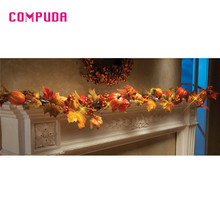 Glow Party Supplies 1.8M LED Lighted Fall Autumn Pumpkin Maple Leaves Garland Thanksgiving  Halloween decoration u70911