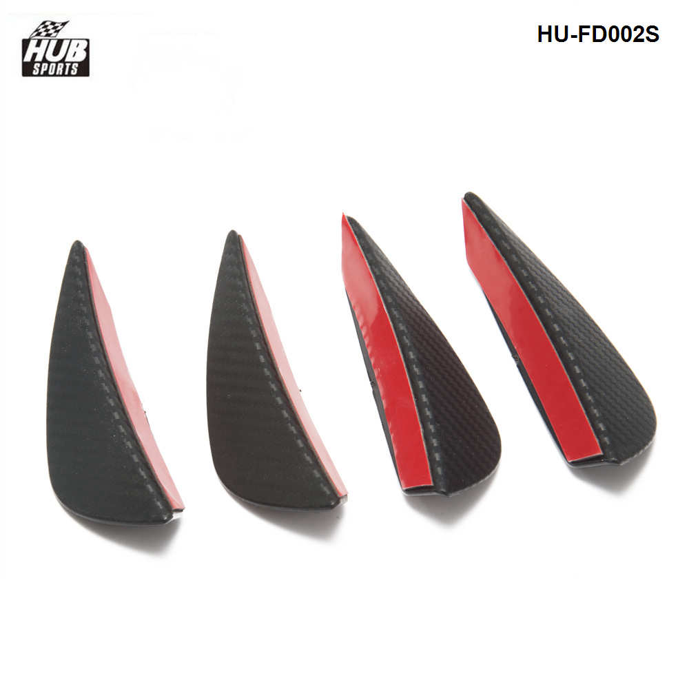 4pcs Carbon fiber Color Fit Front Bumper Lip Splitter Fins Body Spoiler Canards Valence Chin  HU-FD002S