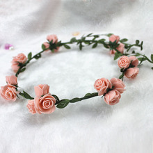 2016 Pink Rose Boho Wedding Bridal Wreath Flower Bride Bridesmaid Cane Garland Bohemian Beach Floral Head Band Hairdress Hot