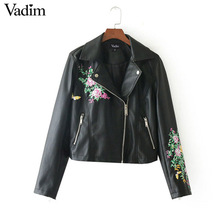 Vadim butterfly floral embroridery PU leather jackets vintage long sleeve zipper pockets streetwear outerwear casual tops CT1572(China)