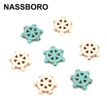 20pcs 16mm Round Steering Wheel Loose Spacer Natural Stone Beads Blue White Seed Bead DIY Jewelry Making NASSBORO(China)
