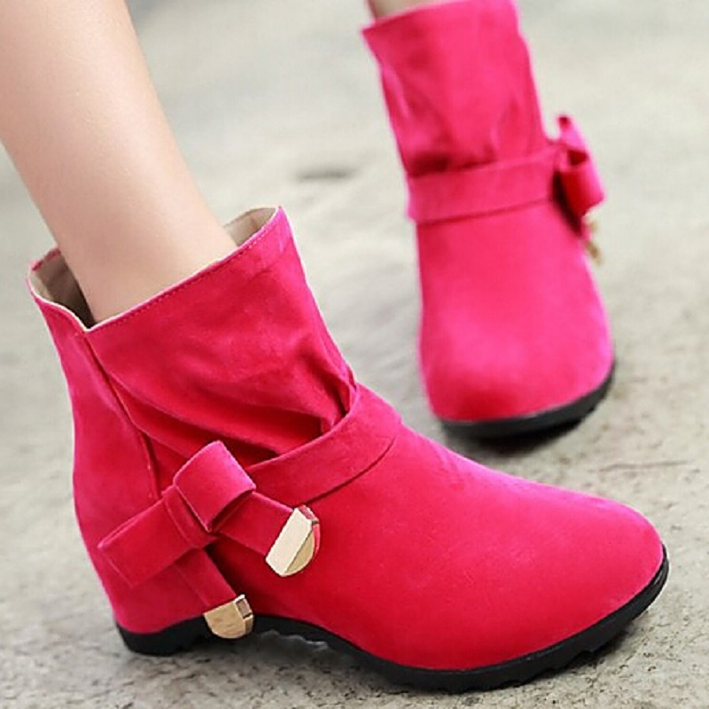 Hot Sale 2015 Big Size Women Boots Solid Bowtie Slip-On Women Ankle Boots Round Toe Casual Wedge Heels Shoes Woman Sweet <br><br>Aliexpress
