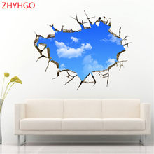 ZHYHGO 2018 New Promotion Home Decoration Accessories Sky Clouds 3d Wall Stickers Removable Decal Ceiling Decorative Art Poster(China)