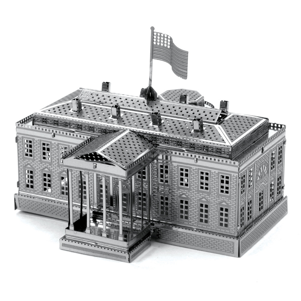 White House 3D Metal Puzzle DIY Stainless Steel Assembly American Building Model Architecture Toy Magnetic Puzzle Kids Toys(China (Mainland))