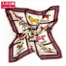 2017 New Design Woman Pure Silk Print Horse Square Scarves Silk Satin Foulard Femme Animal Bandana Female Neckerchief bufandas(China)