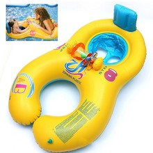 NEW Safe Soft Inflatable Mother Baby Swim Float Ring Kids Seat Double Person Swimming Pool, Blue/Yellow Free Shipping