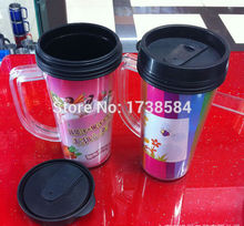 double wall plastic mugs with lid and handle,advertising gift cup office tea cup insulated drinking tumbler