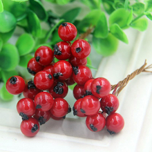50PCS/Lot Artificial 1CM Mini Fake Smooth Foam Pomegranate Fruit Small Berries Red Stamen Bouquet For Home Wedding Decoration
