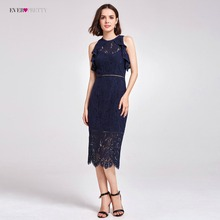 Hot Sale Cocktail Dresses Ever Pretty AS05920 Valentine's Day High Waist Lace Unique Straight Newest Party Dresses for Women(China)