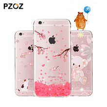 PZOZ Luxury transparent glitter Rhinestone phone Cases For Apple iphone 6 6S Plus Crystal Diamond soft silicone Cover coque capa