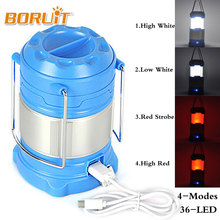 BORUIT 180 Lumen Outdoor Portable Rechargeable 21 LED USB Camping Lantern Tent Lights Red White Light 4 Mode Hanging Lamp Hiking