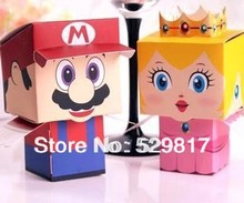 new free shipping 50pcs Super Mario Bros princess Bride and Groom Wedding Favor Boxes gift candy box,Can choose only one kind