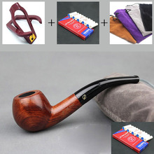 Classic Handmade Natural Solid Red Wood Smoking Pipe Round RoseWood Weed Tobacco Wooden 10pc 9mm Filter+Pouch+Holder DB136