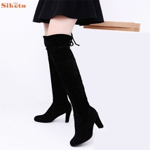 High quality Women Stretch Faux Slim High Boots Over The Knee Boots High Heels Shoes