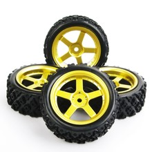 4pcs/set 1/10 RC Rally Racing Off Road Car Tyre Rubber Tires Wheel Rim D6NKR+PP0487 12mm Hex  1/10 Rc Model car parts