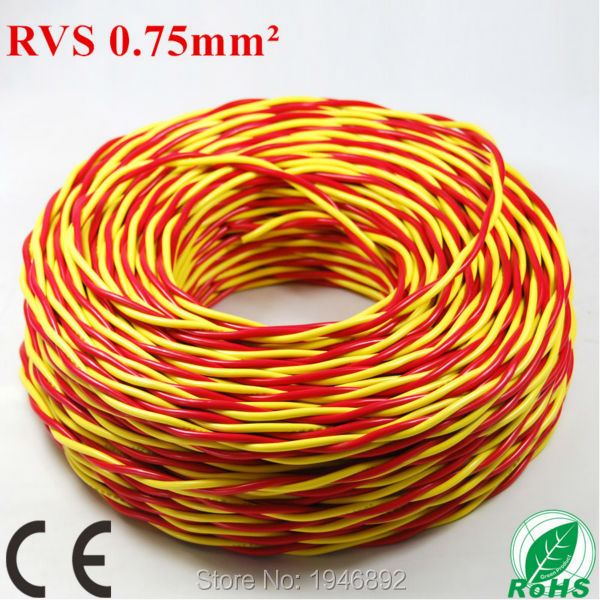 Whole Roll 100M ZR RVS-2*0.75mm Square Red and Yellow Strands Twisted Pair Lamp line Copper CE &amp; RoHS Electronic Wire Conductor<br><br>Aliexpress