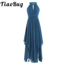 Women Ladies Sleeveless Halter Chiffon Elegant Evening Party Dress slender keyhole opening A-Line Backless Formal Evening Dress(China)