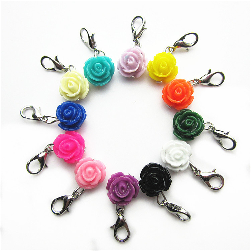 mix color flower dangle charms