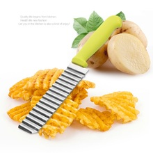 Potato French Fry Cutter Stainless Steel Corrugated Knife Kitchen Accessories Serrated Blade Easy Slicing Wave Banana Potato