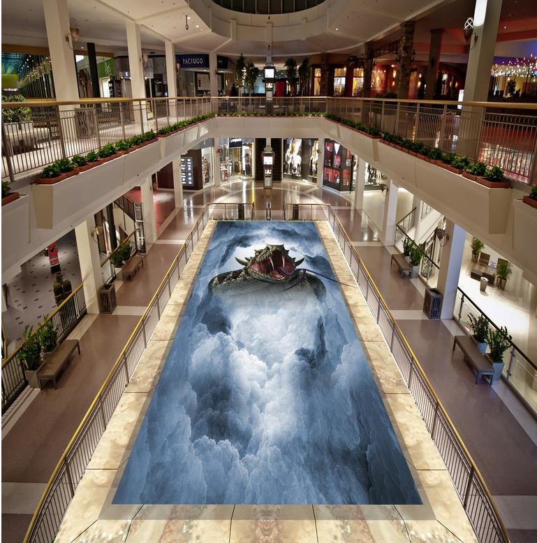Floor 3d painting snake 3D wallpaper 3d floor murals PVC waterproof floor Home Decoration  3d floor painting  <br>
