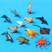 Mini 12pcs/set Plastic Marine Animal Model Toy Figure Ocean Creatures Dolphin Kids Toy Best Model Gift For Children Kids(China)