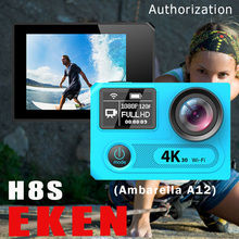 EKEN H8S Action Camera Ambarella A12 4K WiFi Go Underwater Sport Cam 1080P Dual Screen Pro Sj DV+Option Charger Battery Monopod